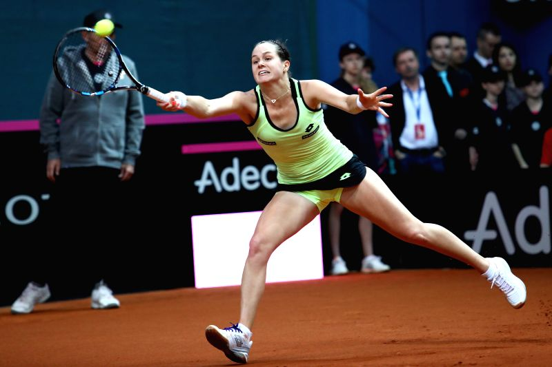 BRATISLAVA, April 23, 2017 - Jana Cepelova of Slovakia returns the ball to Richel Hogenkamp of the Netherlands during their Fed Cup World Group I Play-off match in Bratislava, Slovakia, April 22, ...