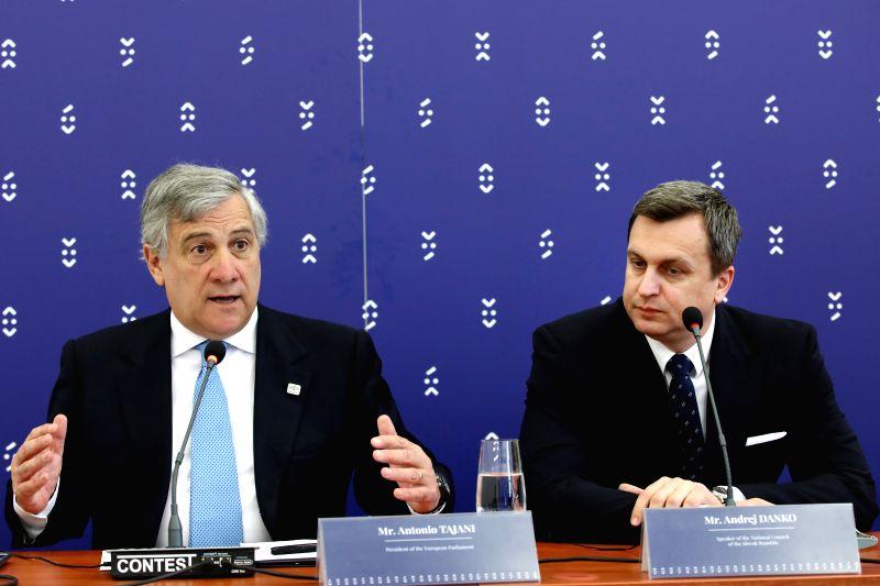 BRATISLAVA, April 24, 2017 - European Parliament President Antonio Tajani (L) and Slovak Parliament Speaker Andrej Danko attend a press conference in Bratislava, Slovakia, on April 24, 2017. EU ... - Andrej Danko