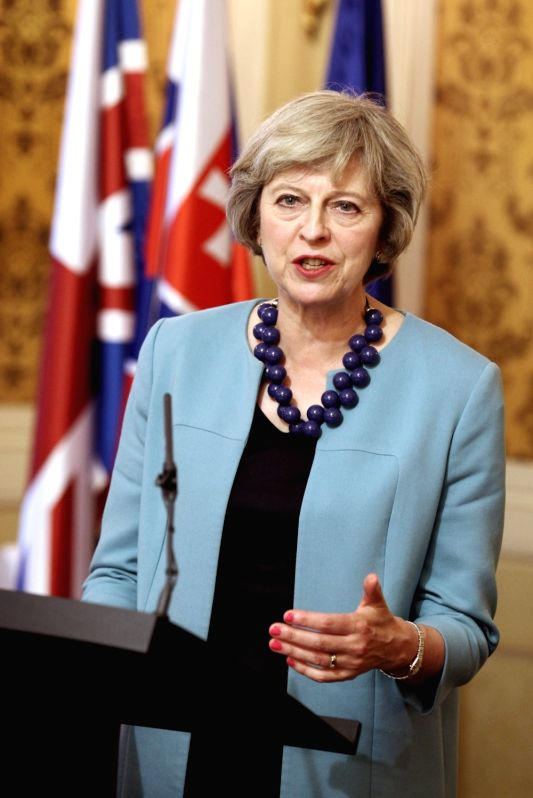 BRATISLAVA, July 28, 2016 - British Prime Minister Theresa May speaks during a joint press conference with Slovak Prime Minister Robert Fico(not in the picture) in Bratislava, Slovakia, on July 28, ... - Theresa May