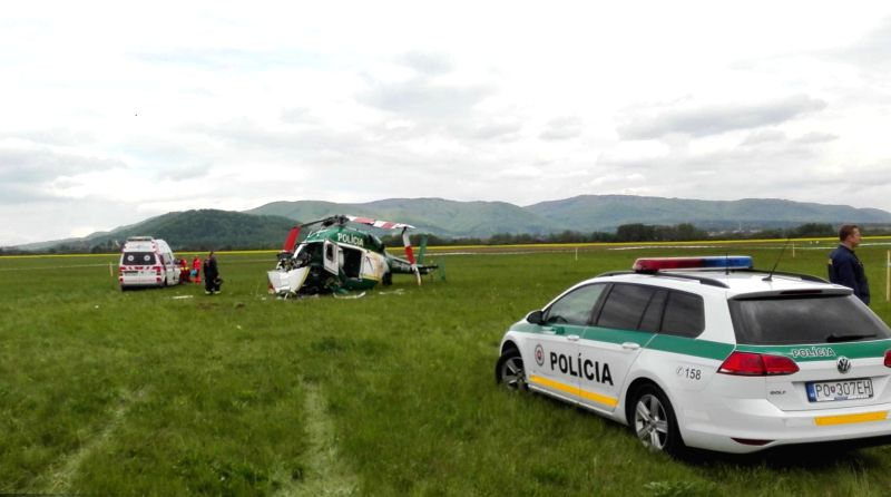 BRATISLAVA, May 10, 2017 - A police helicopter is seen crashed on the site near Presov, eastern Slovakia, on May 10, 2017. Two people were confirmed dead in the police helicopter crash here on ...
