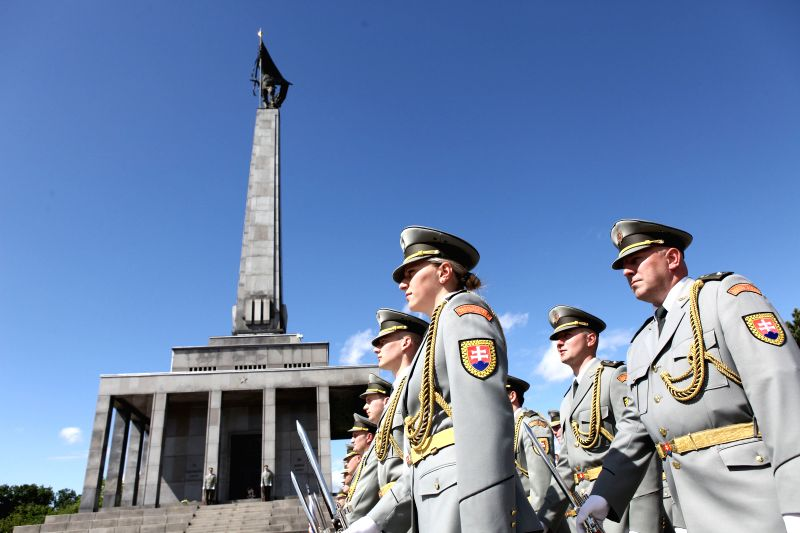 Soldiers attend a commemoration to mark the Victory Day, in Bratislava, Slovakia on May 9, 2014.