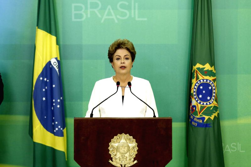Brazil's President Dilma Rousseff delivers a message to the nation from the Planalto Palace in Brasilia, Brazil, Dec. 2, 2015. Dilma Rousseff said that she received ...