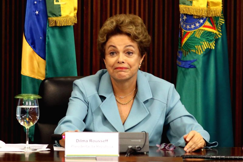 Brazil's President, Dilma Rousseff, takes part in a meeting with Governors of various states in the Planalto Palace, in Brasilia, Brazil, on Dec. 8, 2015. ...