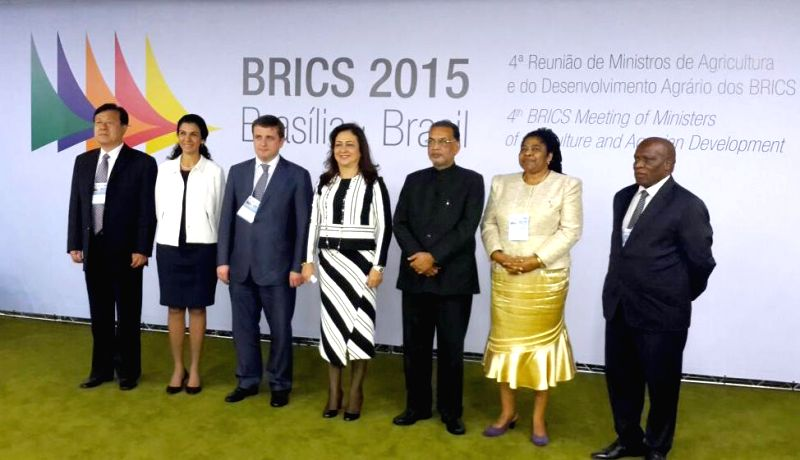The Union Minister for Agriculture Radha Mohan Singh at the concluding session of the 4th BRICS Agriculture Ministers meeting, in Brazil on March 13, 2015.
