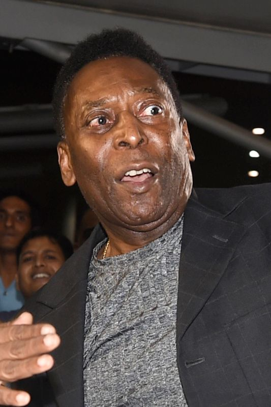 Brazilian football legend Pele arrives at Delhi Airport on Oct 14, 2015.(Image Source: IANS)