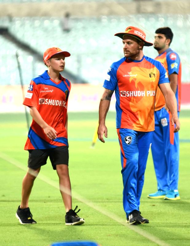 Brendon McCullum of Gujarat Lions during a practice session in Kolkata on April 20, 2017.