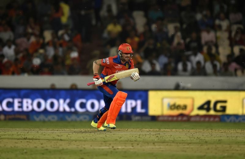 Brendon McCullum of Gujarat Lions during an IPL match between Sunrisers Hyderabad and Gujarat Lions at Rajiv Gandhi International Stadium in Hyderabad on May 6, 2016.