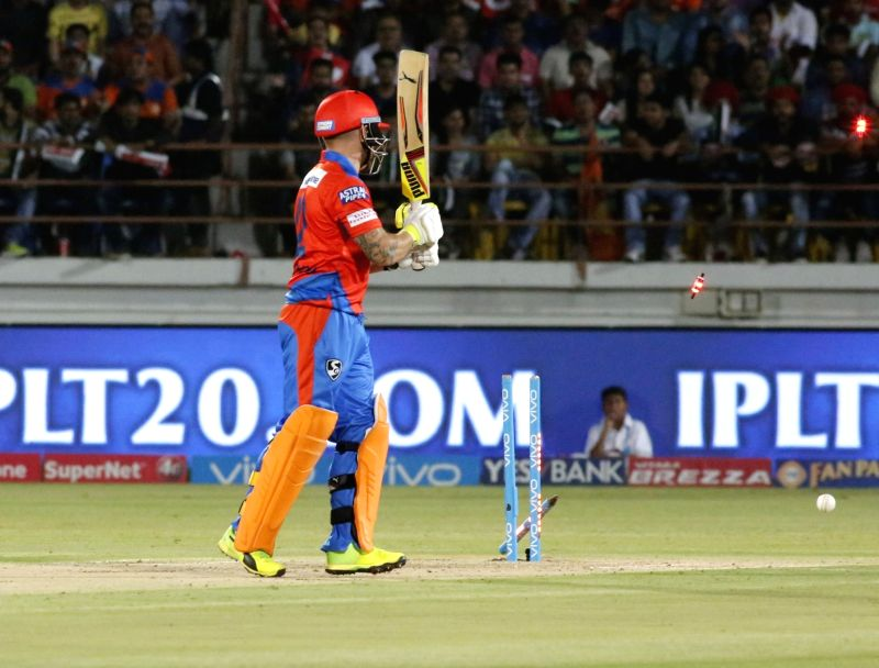 Brendon McCullum of Gujarat Lions gets bowled during an IPL 2017 match between Gujarat Lions and Mumbai Indians at Saurashtra Cricket Association Stadium in Rajkot on April 29, 2017.