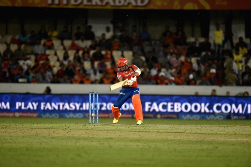 Brendon McCullum of Gujarat Lions in action during an IPL match between Sunrisers Hyderabad and Gujarat Lions at Rajiv Gandhi International Stadium in Hyderabad on May 6, 2016.