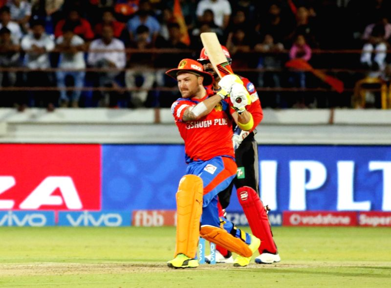 Brendon McCullum of Gujarat Lions in action  during an IPL 2017 match between Royal Challengers Bangalore and Gujarat Lions at Saurashtra Cricket Association Stadium in Rajkot on April 18, ...