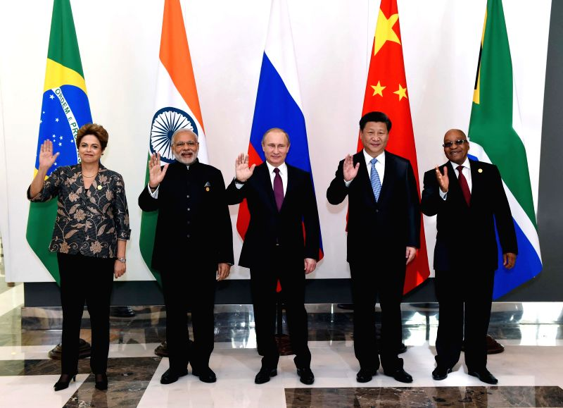 BRICS leaders Chinese President Xi Jinping, Russian President Vladimir Putin,  Indian Prime Minister Narendra Modi, South African President Jacob Zuma and Brazilian ... - Narendra Modi
