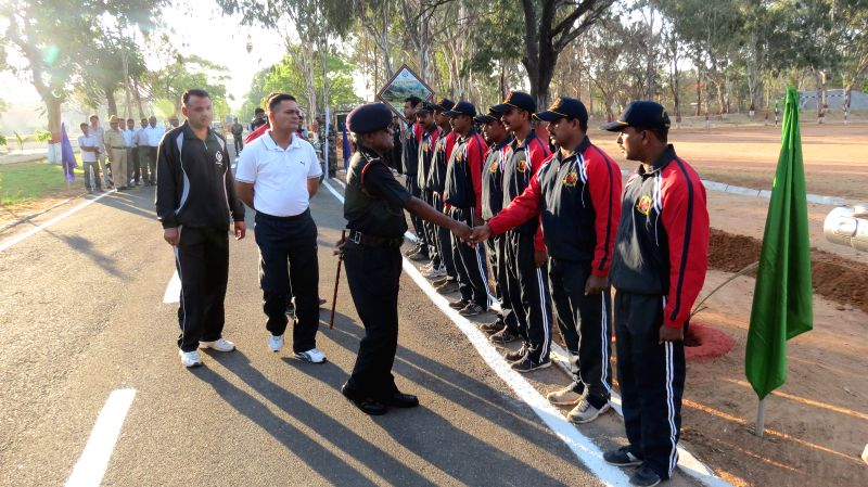 Brigadier SS llango, Deputy General Officer Commanding of Karnataka and Kerala Sub Area meets the soldiers participating in a Motor Cycle Rally organised on the 50th Raising Day of 96 Field Regiment .