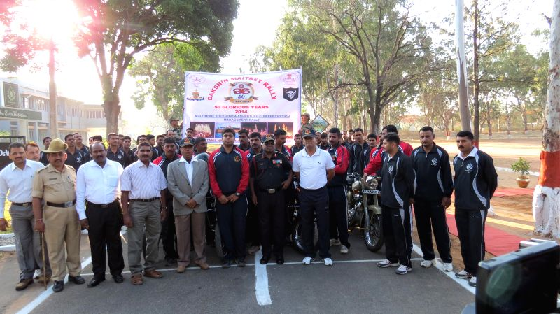 Brigadier SS llango, Deputy General Officer Commanding of Karnataka and Kerala Sub Area during a flagging-off ceremony of a Motor Cycle Rally on the 50th Raising Day of 96 Field Regiment in Bangalore