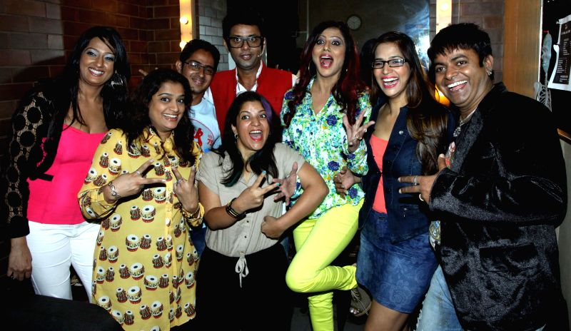 Brinda,ekta,mobin,aditi,rehman,tinaa,Tanisha and Vip during the stand up comedy show Love,Sex and Politics at Canvas Laugh Club in Mumbai on Thursday, June 19, 2014.