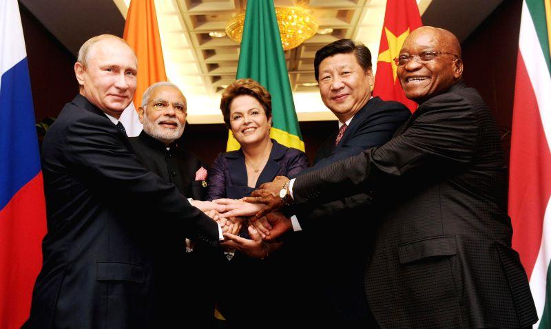 Prime Minister Narendra Modi with the other BRICS leaders ahead of G-20 Summit, in Brisbane, Australia on Nov. 15, 2014.
