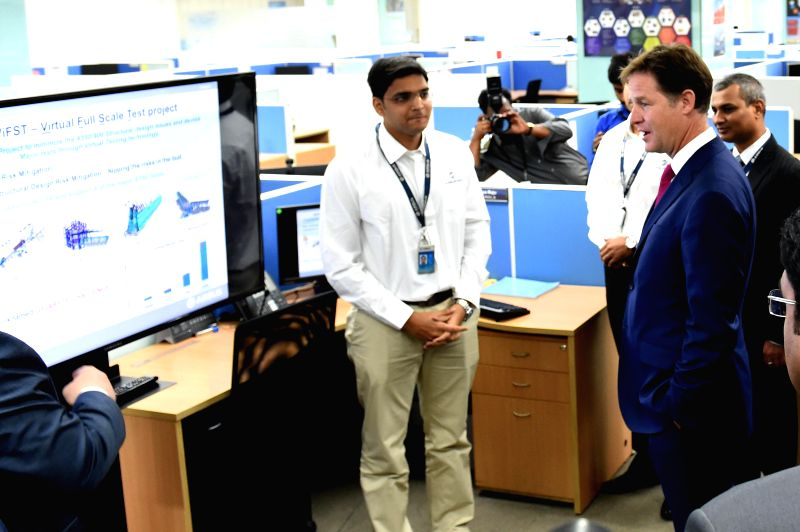 Britain's Deputy PM, Nick Clegg during a visit to Airbus India facility in Bangalore on Aug 27, 2014.