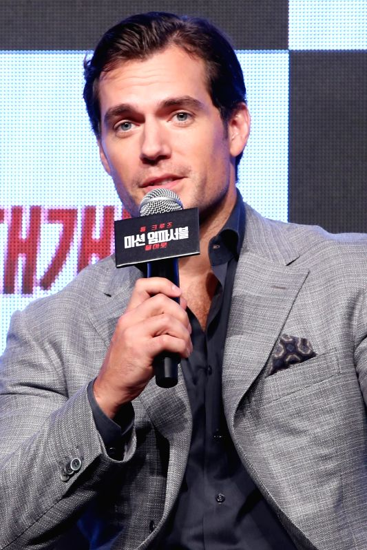 """British actor Henry Cavill attends a publicity event in Seoul on July 16, 2018, to promote the 2018 American spy action film, """"Mission: Impossible - Fallout."""" The film will hit South ... - Henry Cavill"""
