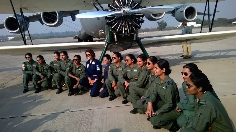 British aviator Tracey Curtis Taylor with IAF women pilots