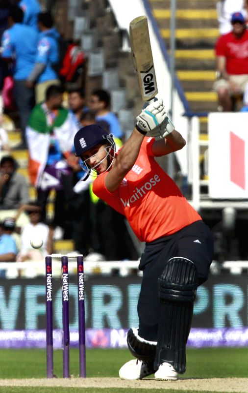 British batsman Alex Hales in action during a T20 match between India and England at Edgbaston, Birmingham, England on Sept 7, 2014.