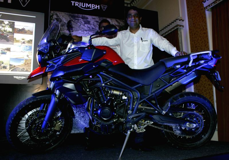 British Brand Triumph Tiger Motorcycle launched in Srinagar during Mission Kanyakumari to Kashmir on Aug 8, 2014.