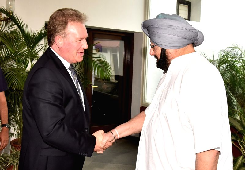 British Deputy High Commissioner Andrew Ayre calls on Punjab Chief Minister Captain Amarinder Singh at latter's official residence in Chandigarh on May 9, 2017. - Captain Amarinder Singh