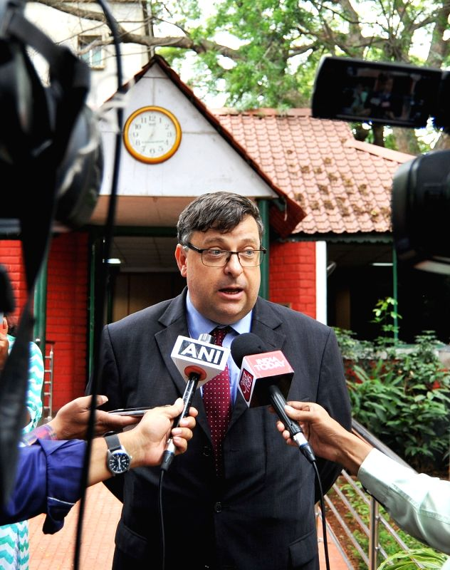 British Deputy High Commissioner Dominic McAllister talks to press regarding UK's flagship Chevening scholarships and fellowships, in Bengaluru on Aug 11, 2017.