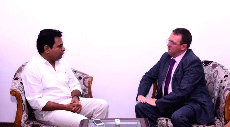 British Deputy High Commissioner to Telangana and Andhra Pradesh, Andrew Fleming meets Telangana IT minister K.T. Rama Rao, in Hyderabad on July 18, 2018. - K. and T. Rama Rao
