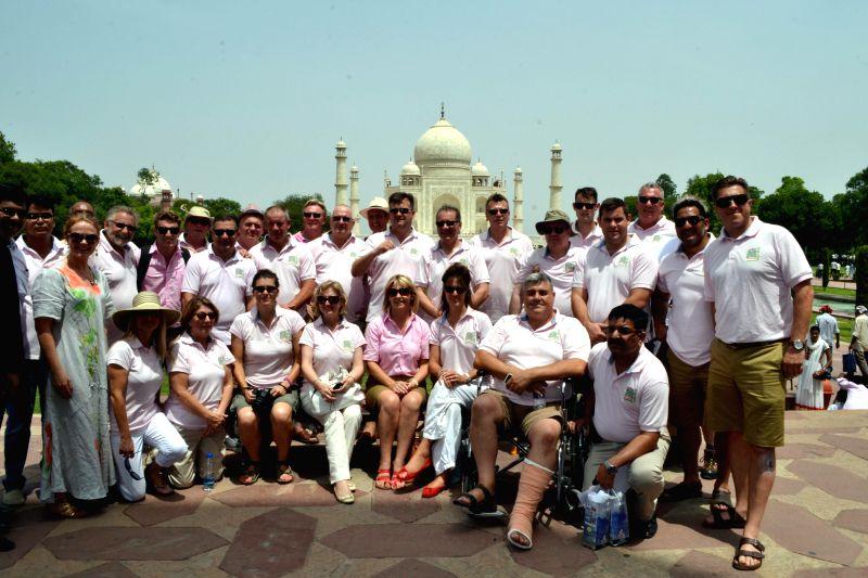 British parliamentarians during their visit to Taj Mahal in Agra on Aug 21, 2014.