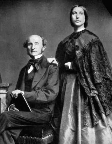 British philosopher John Stuart Mill with long-time companion and eventual wife Harriet with whom he developed the tenets of political and social liberalism
