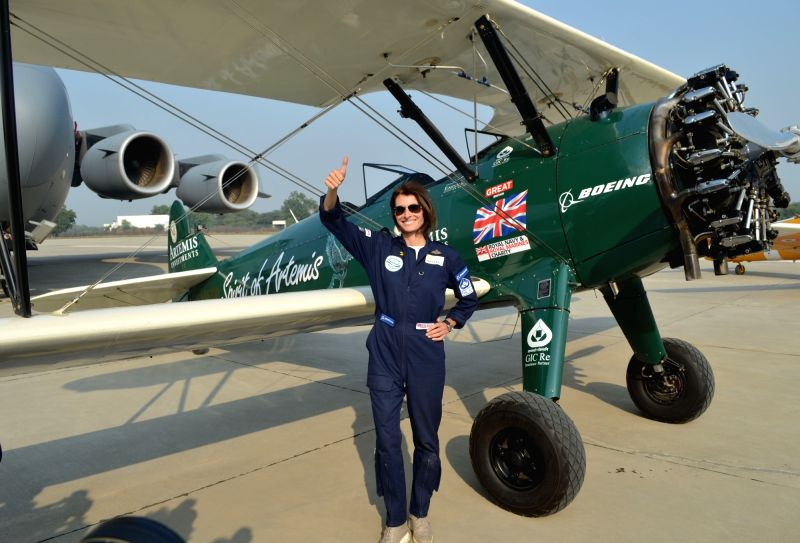 British pilot and adventurer, Tracey Curtis-Taylor who is flying a Boeing Stearman aircraft from UK to Australia in honour of Amy Johnson, whose epic solo flight to Australia in 1930 ...