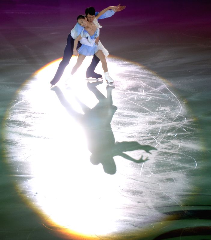Bronze medalists Peng Cheng and Zhang Hao of China perform during gala exhibition at ISU Grand prix of figure skating Rostelecom cup in Moscow, Russia, Nov. 22, ...