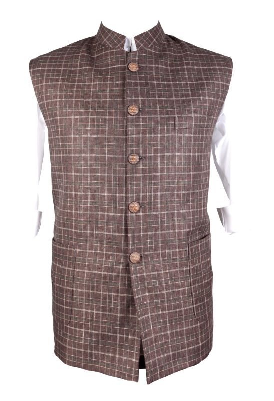 Brown Check Bundi with Inverted Box pleat patch pockets