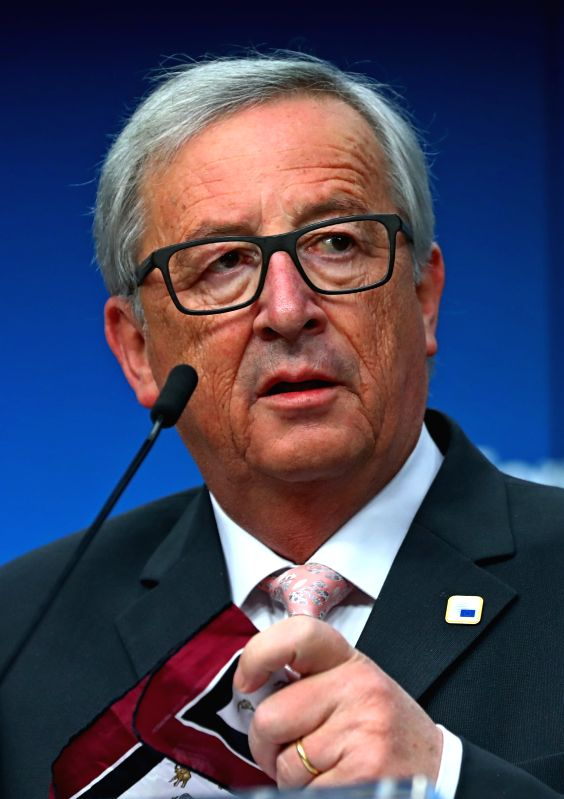BRUSSELS, April 29, 2017 - European Commission President Jean-Claude Juncker attends a press conference with European Council President Donald Tusk (not in the picture) at the EU headquarters in ...