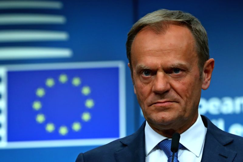 BRUSSELS, April 29, 2017 - European Council President Donald Tusk attends a press conference with European Commission President Jean-Claude Juncker (not in the picture) at the EU headquarters in ...