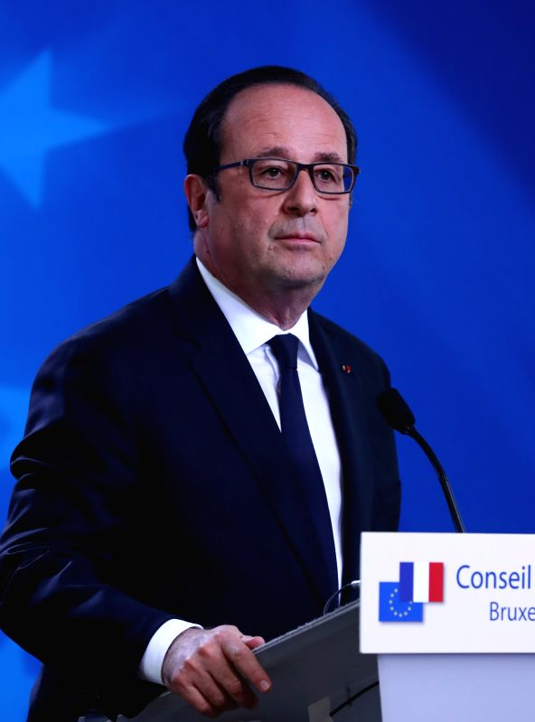 BRUSSELS, April 29, 2017 - French President Francois Hollande attends a press conference at the EU headquarters in Brussels, Belgium, on April 29, 2017. The 27 European Union (EU) countries' leaders ...