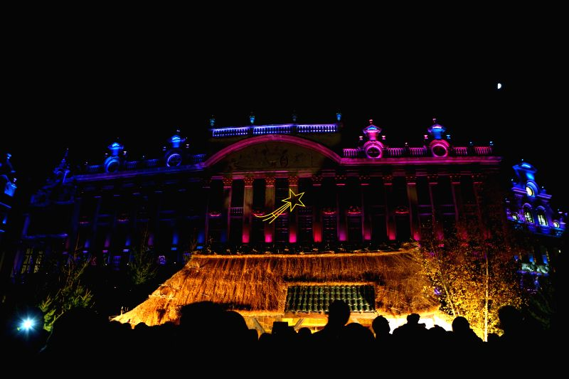 Brussels (Belgium): A sound and light show is held at the Grand Place in Brussels, Belgium, Nov. 29, 2014. The show would last from Nov. 28 to Jan. 5, 2015.