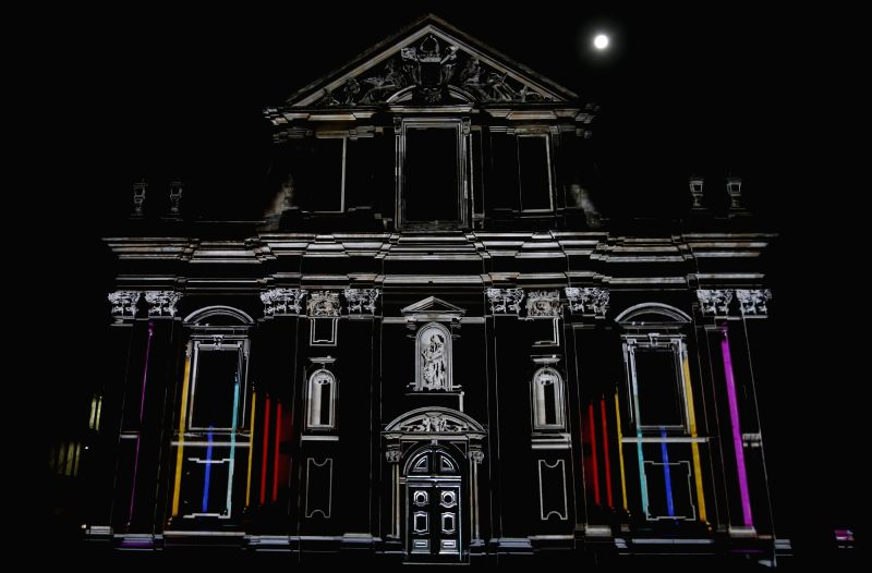 BRUSSELS, Feb. 1, 2018 - Photo taken on Jan. 31, 2018 shows a light projection during the light festival in Ghent, Belgium. The festival, which is held every three years, opened here on Wednesday and ...