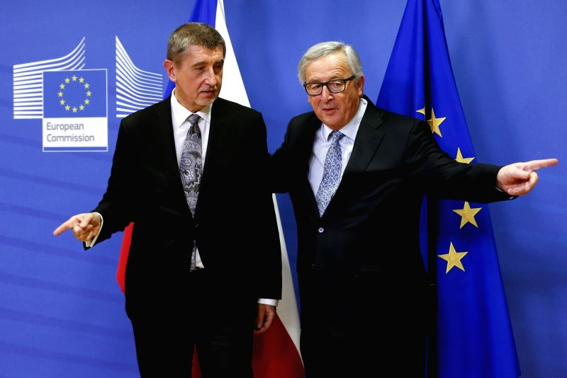 BRUSSELS, Jan. 29, 2018 - European Commission President Jean-Claude Juncker (R) meets with visiting Czech interim Prime Minister Andrej Babis in Brussels, Belgium, Jan. 29, 2018. - Andrej Babis