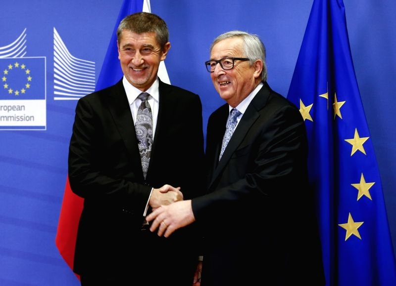 BRUSSELS, Jan. 29, 2018 - European Commission President Jean-Claude Juncker (R) shakes hands with visiting Czech interim Prime Minister Andrej Babis during their meeting in Brussels, Belgium, Jan. ... - Andrej Babis