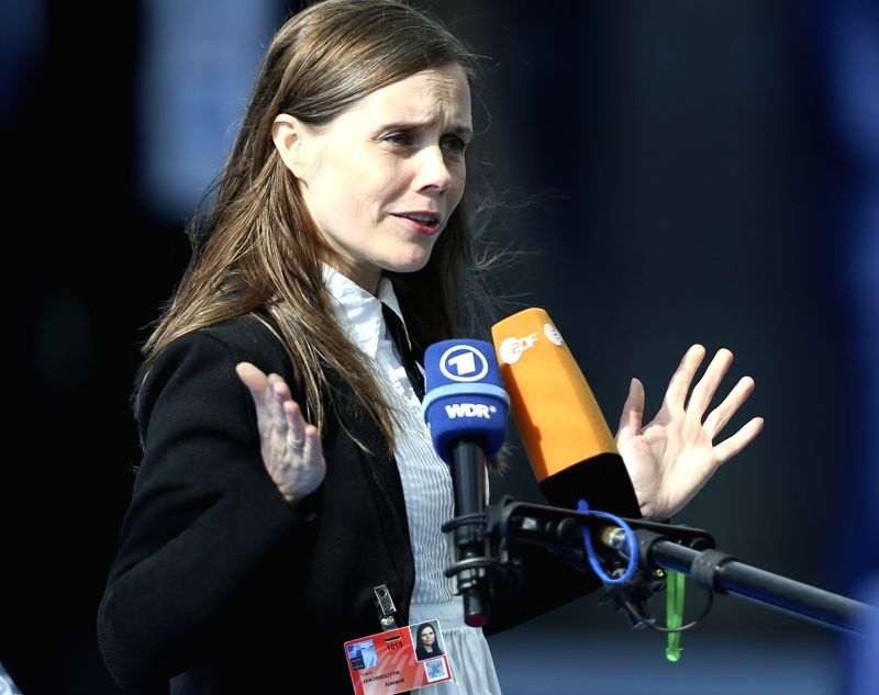 BRUSSELS, July 11, 2018 - Iceland's Prime Minister Katrin Jakobsdottir speaks to media as she arrives at a NATO summit in Brussels, Belgium, July 11, 2018. NATO leaders gather in Brussels for a ... - Katrin Jakobsdottir