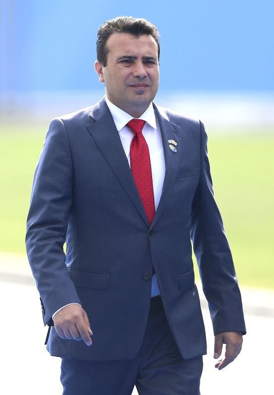 BRUSSELS, July 12, 2018 (Xinhua) -- Prime Minister of the Former Yugoslav Republic Of Macedonia (FYROM) Zoran Zaev arrives for the second day of the North Atlantic Treaty Organization (NATO) summit in Brussels, Belgium, on July 12, 2018. NATO leaders
