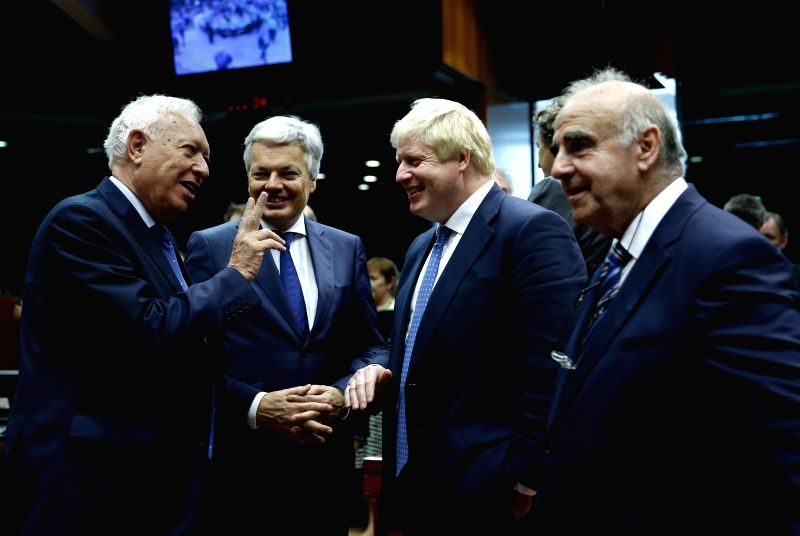 BRUSSELS, July 18, 2016 - Spanish Foreign Minister Jose Manuel Garcia-Margallo, Belgian Foreign Minister Didier Reynders, British Foreign Secretary Boris Johnson and Maltese Minister for Foreign ... - Jose Manuel Garcia-Margallo