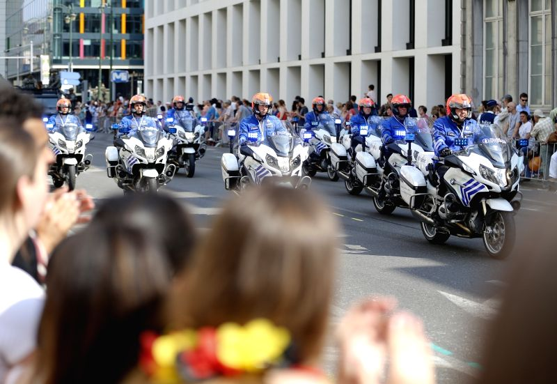BRUSSELS, July 21, 2016 - Belgian police attend the Military Parade to celebrate Belgium's National Day in Brussels, Belgium, July 21, 2016.