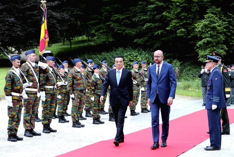 BRUSSELS, June 2, 2017 - Chinese Premier Li Keqiang attends a welcome ceremony held by Belgian Prime Minister Charles Michel before their talks in Brussels, Belgium, June 2, 2017. - Charles Michel