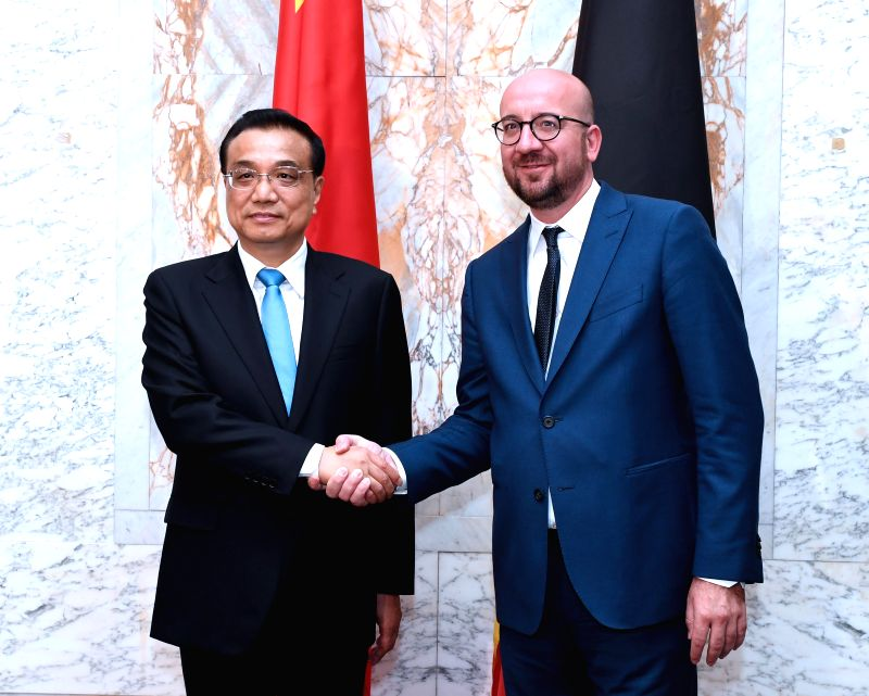 BRUSSELS, June 2, 2017 - Chinese Premier Li Keqiang (L) holds talks with Belgian Prime Minister Charles Michel in Brussels, Belgium, June 2, 2017. - Charles Michel