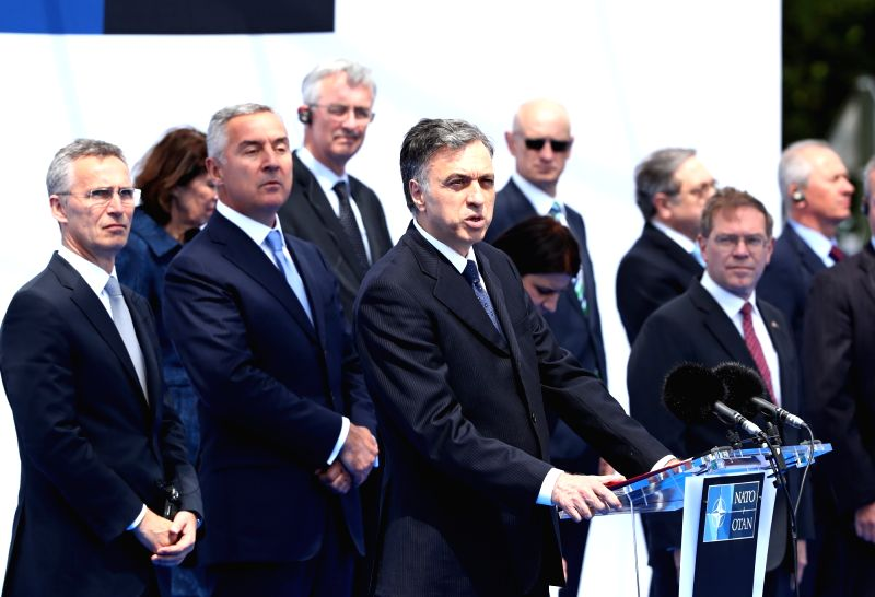 BRUSSELS, June 7, 2017 - Montenegrin President Filip Vujanovic (front) speaks during a ceremony marking Montenegro's accession to NATO at NATO headquarters in Brussels, Belgium, on June 7, 2017. NATO ...