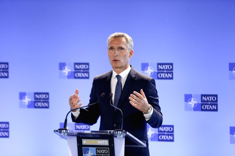 BRUSSELS, June 7, 2018 - NATO Secretary General Jens Stoltenberg addresses a press conference prior to an NATO defense ministers meeting at its headquarters in Brussels, Belgium, June 7, 2018.