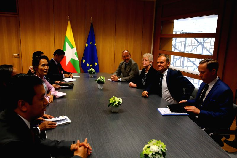 BRUSSELS, May 2, 2017 - European Council President Donald Tusk (2nd R) meets with visiting Myanmar State Counselor Aung San Suu Kyi at the Europa building in Brussels on May 2, 2017.