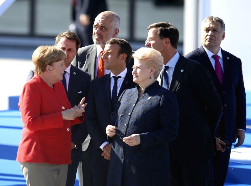 BRUSSELS, May 25, 2017 - German Chancellor Angela Merkel, Luxembourg's Prime Minister Xavier Bettel, Albanian prime minister Edi Rama, French President Emmanuel Macron, Lithuanian President Dalia ... - Xavier Bettel