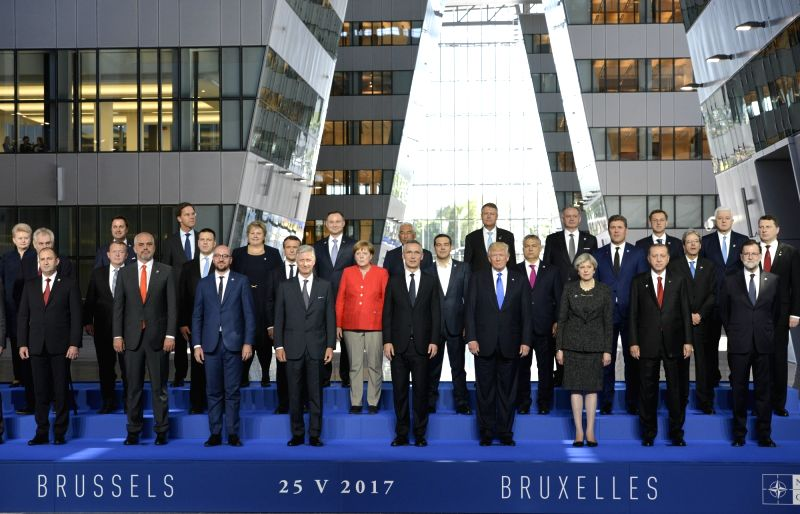 BRUSSELS, May 25, 2017 - King Philippe of Belgium (4th L, front), NATO Secretary General Jens Stoltenberg (5th L, front) and NATO member states leaders pose for family photos during a one-day NATO ...